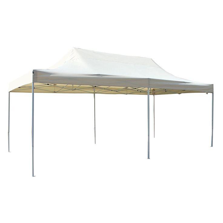 aleko 10 x 20 ft outdoor party waterproof cream ivory gazebo tent canopy
