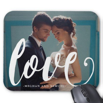 Love Typography and Names Photo Mousepad - minimal gifts style template diy unique personalize design