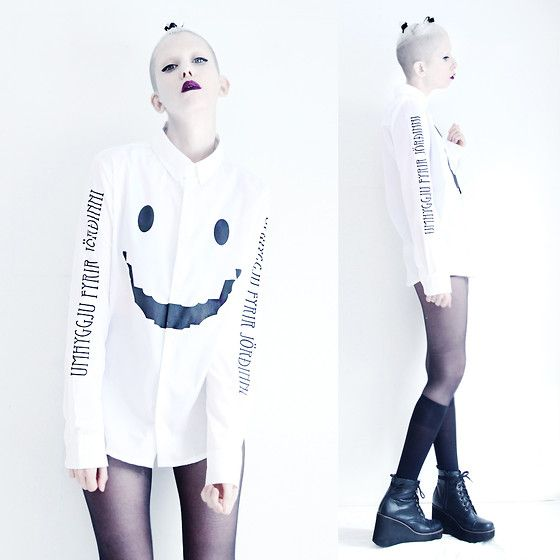 Get this look: http://lb.nu/look/7096964  More looks by JENNY MUSTARD .: http://lb.nu/jennymustard  Items in this look:  Zl By Zlism Smiley Shirt, Jenny Mustard