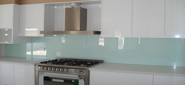 white kitchen with blue splashback - Google Search