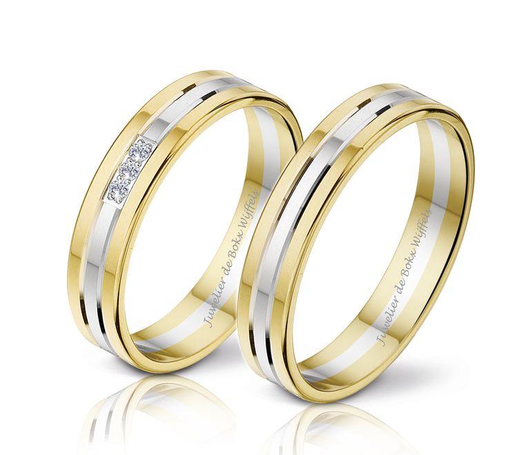 diamanten trouwringen Bicolor gouden trouwringen DR €839 HR €614 bicolor gouden trouwringen 5.5 mm 3x 0.02ct diamant #angeli #di #bosca #trouwringen Goud #diamanten #jdbw