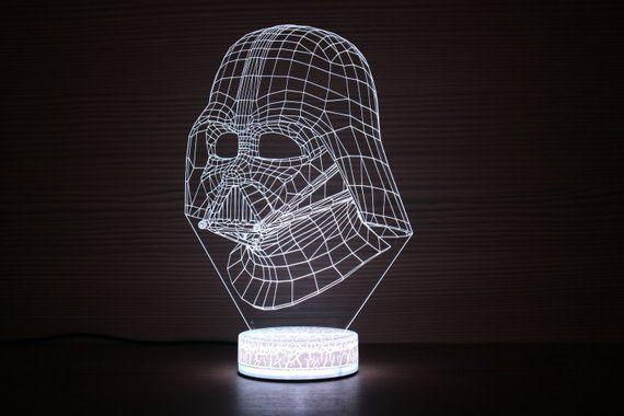 Darth Vader Mask Star Wars 3d Night Lamp Night Light Darth Etsy Darth Vader Mask Darth Vader Helmet Illusions