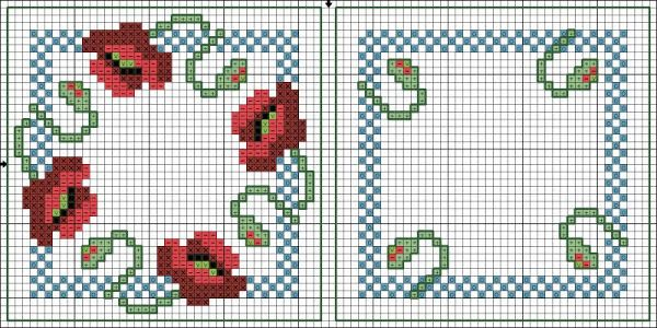 Cross-stitch Poppy Biscornu... no color chart available, just use pattern chart as your color guide.. or choose your own colors... Encontrado en club.osinka.ru Картинка