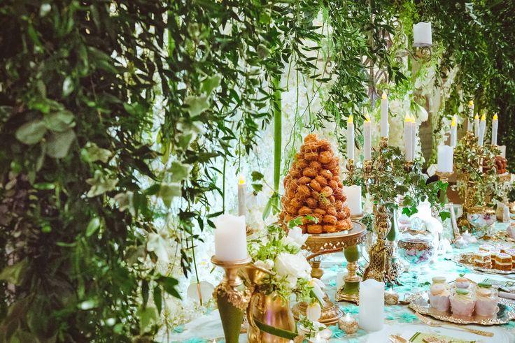 Candy Corner / Candy Bar Details - Satori Art & Event Design Vintage, Royal, Bronze, Gold, Sweets, Macarons, Cake, Weddings, Events, Elegant, Exquisite, Teal, Greenery, Green, Victorian, Inspiration, Tablescape, Design, Decor