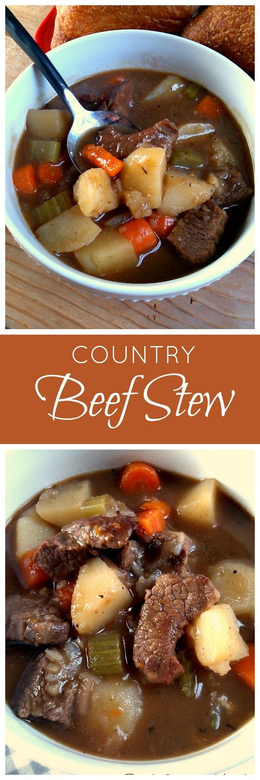 Country Beef Stew - a hearty homemade stew made with beef, potatoes, carrots and onion. Can be made on the stove or crock pot!