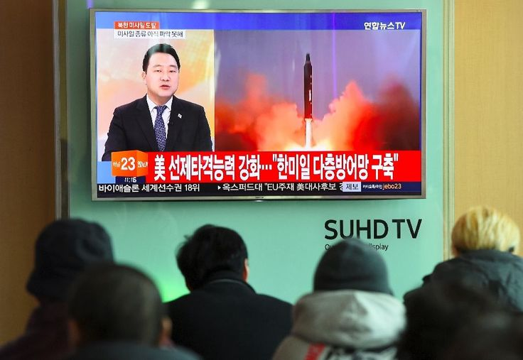 """North Korea on Sunday staged its first ballistic missile test since Donald Trump took office, a move denounced by Japan's leader who won """"100 percent"""" backing from the new US President.  Prime Minister Shinzo Abe, whose country would be in range of a hostile North, called the launch """""""