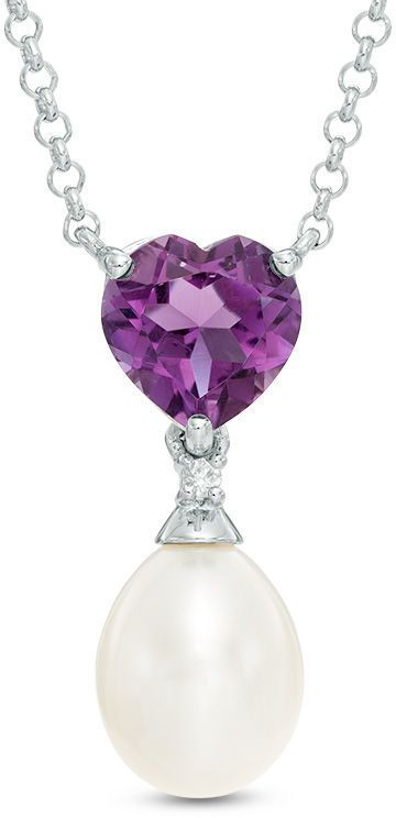 """Zales Cultured Freshwater Pearl, Heart-Shaped Amethyst and Diamond Accent Necklace in Sterling Silver - 17"""""""