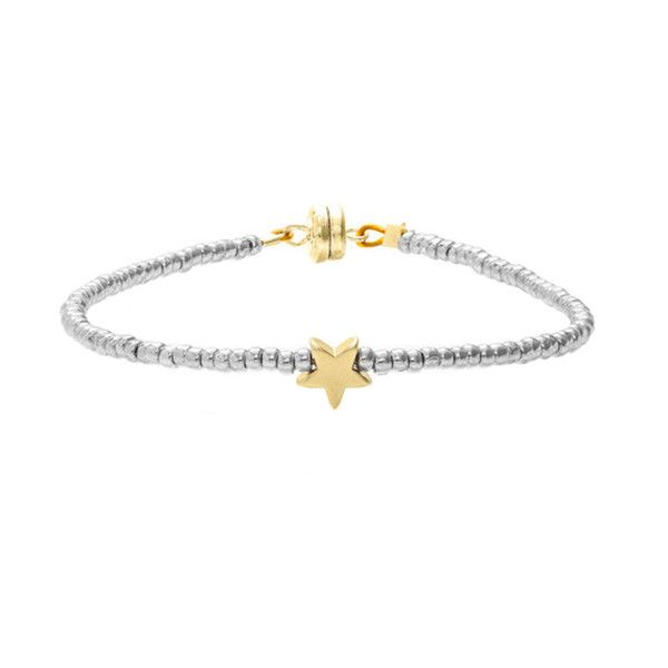 MINNIE GRACE Silver Beaded Star charm friendship bracelet | La Luce