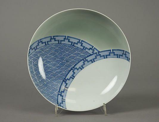 Porcelain painted with cobalt blue under celadon glaze (Hizen ware; Nabeshima type)