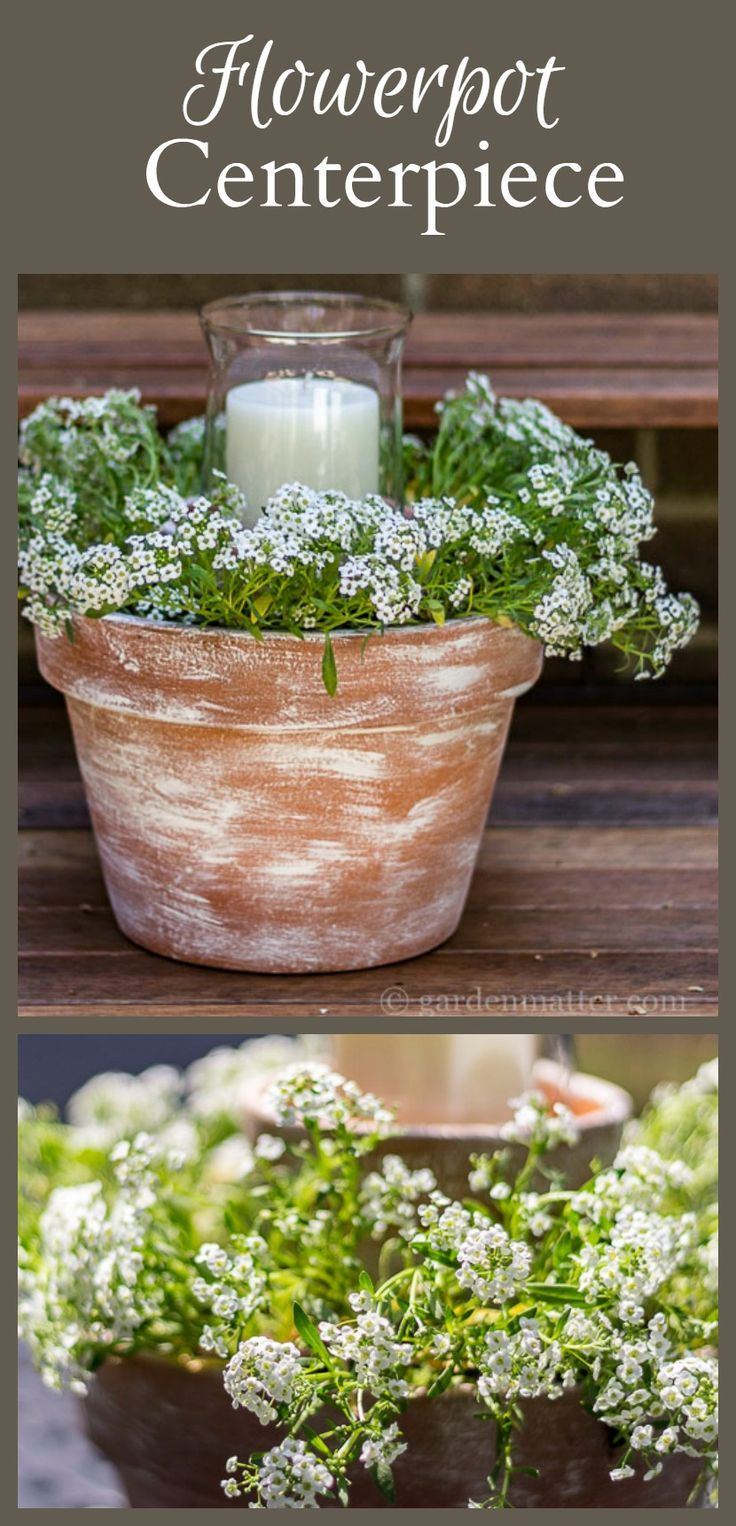 Learn how to make an easy flower pot centerpiece for under $10. Great  option for shower and wedding decor. Make a great inexpensive gift.