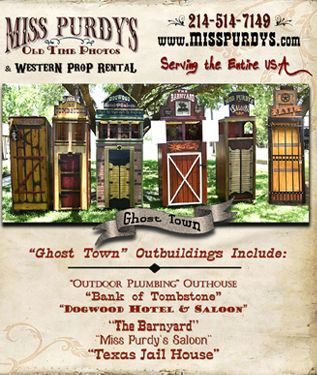 """""""Ghost Town"""" outbuildings for rent in Raleigh NC from Miss Purdy's Old Time Photos &  Western Prop Rental  with complete mobile service to the entire USA, Includes: Dogwood Hotel, Bank of Tombstone, The Barnyard, Miss Purdy's Saloon, Outdoor Plumbing Outhouse, & Texas Jail House… great for selfies! All outbuildings have lanterns & lights inside to illuminate them at night! Yee Haw!"""
