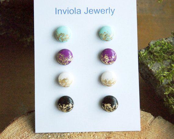 SALE Set 4 clay stud earrings Mint Purple White by InviolaJewerly