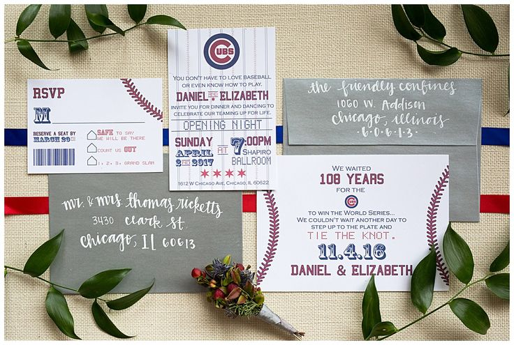 BRILLIANT! Cubs Themed Wedding! Can totally be customized to whatever the season! LOVING this Cubs look! @stylemepretty @4everincredible