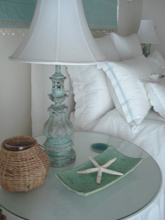 Beach Decor Design. love the finish on the lamp