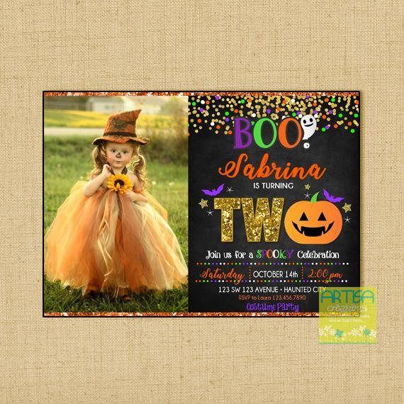 Halloween Birthday Invitation, 2nd Birthday Halloween Invitation, 2nd Birthday Halloween Party Invitation, ANY AGE Halloween Birthday Invite