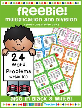 This FREE product is a preview for my 108 multiplication and division word problems aligned with Common Core Standard 3.0A.3. It includes 24 word problems and covers 4 different problem types within 100. A contents page, student record sheet, answer key and a black & white version are included.There are 6 word problems for each of the following problem types: Equal Groups (Unknown Product) 3 x 6 = ?Equal Groups (Number of Groups Unknown) ?