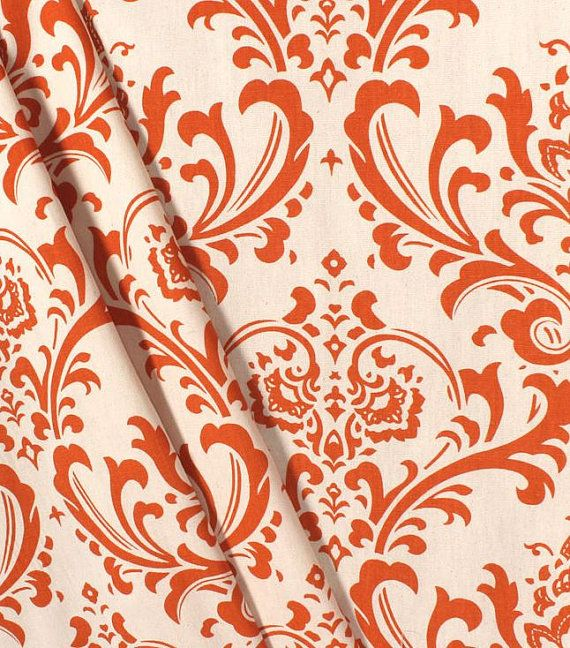 Our burnt orange floral curtain panel window treatments are sure to brighten up any room or space!  This listing includes a pair of curtain panels or a single valance in a rich burnt orange and natural floral damask print. Perfect for a living room, bedroom, kitchen, dining room or any room!   L I S T I N G D E T A I L S : -- Includes 2 Curtain Panels (pair) or a Single Valance -- Unlined -- Colors Include: Burnt Orange on a Natural/Tan Background -- Finished With a 3 Rod Pocket Top -- Hang…