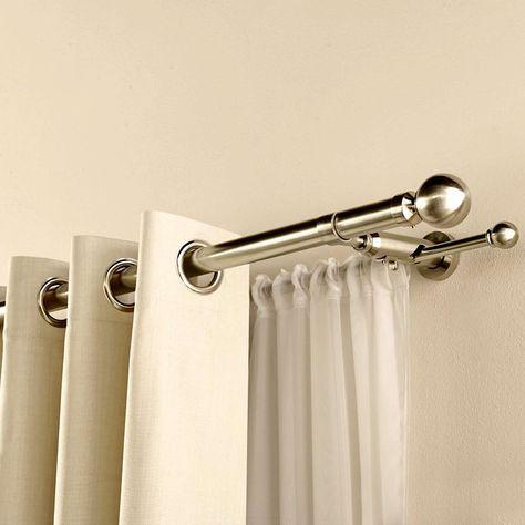 Satin Silver Duo Curtain Pole | Dunelm