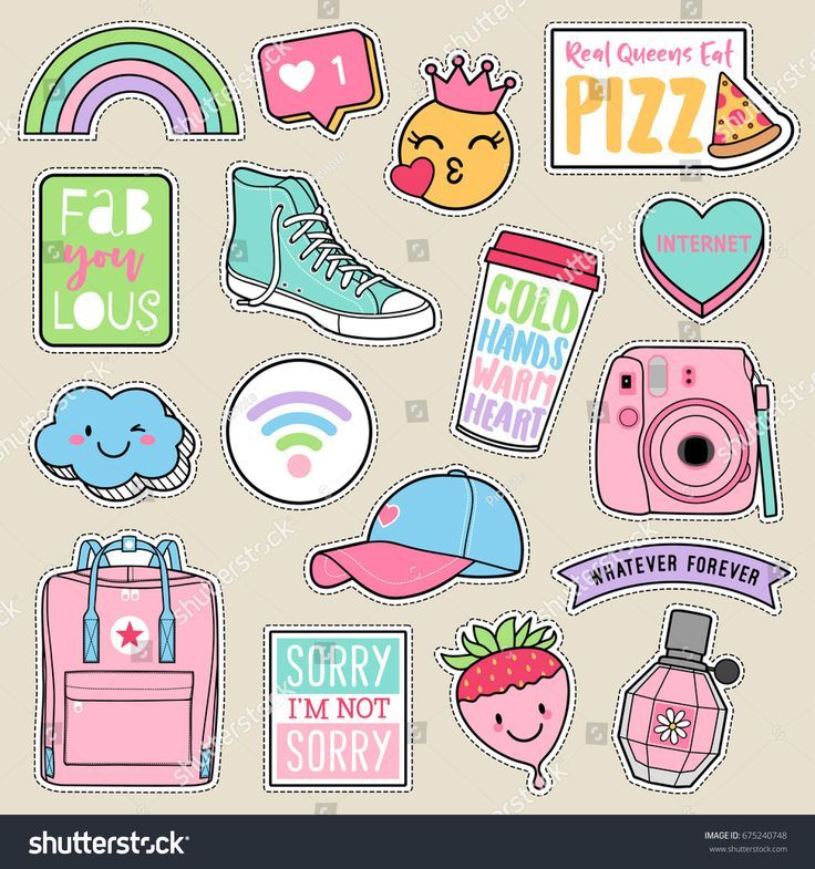 Set of fashion teenage girls patches, cute pastel badges