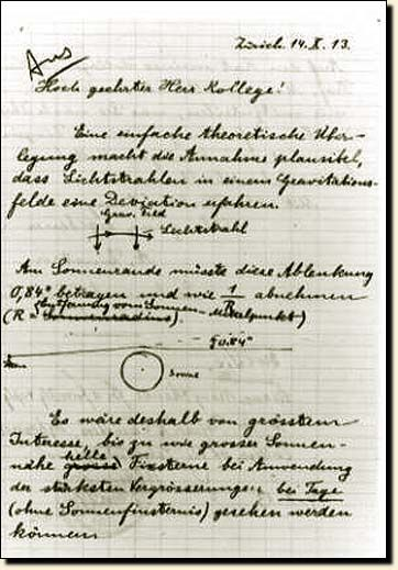This is a letter, written by Albert Einstein, in which he explains the details of a now-famous test of the theory of relativity—an experiment that involves measuring how the Sun's gravity alters the path of starlight traveling towards Earth.