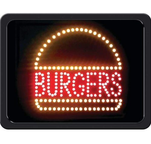 """Mitaki-Japan BURGERS Programmed LED Sign by Mitaki-Japan. $50.21. Features multi-color LEDs, thick black frame, mounting holes on back, and 110V UL approved adapter. Measures 17-3/4"""" x 13-3/4"""" x 1-1/8"""". Limited 1 year warranty. White box."""