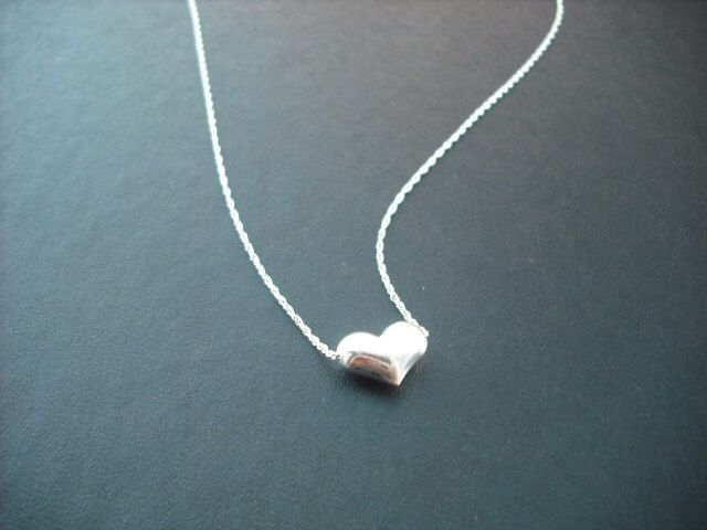Sterling Silver Necklace with Puffed Heart by Lana0Crystal on Etsy https://www.etsy.com/listing/56933057/sterling-silver-necklace-with-puffed