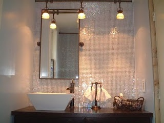 Beautiful Shimmering Bathroom Tile Mosaic Backsplash Shimmer Mosaic Backsplash