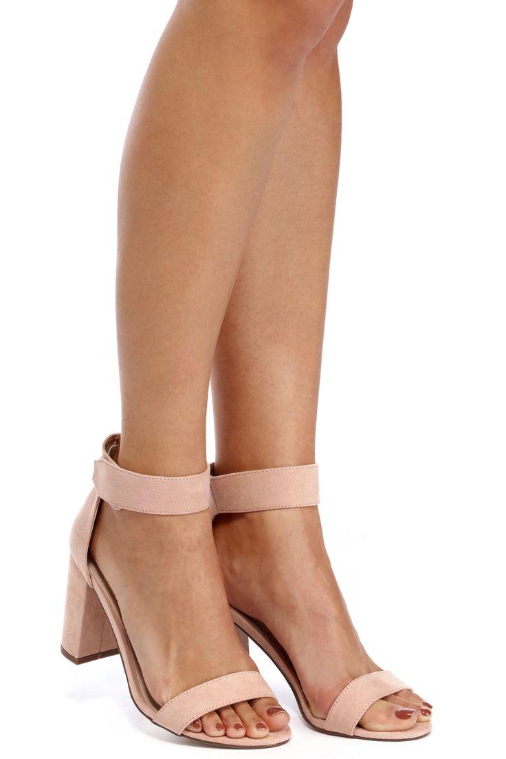 Pink Velcro Strap Block Heels | windsor