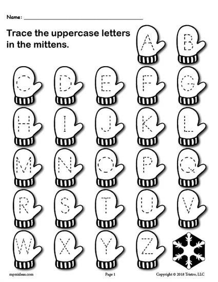FREE Printable Winter Themed Uppercase and Lowercase