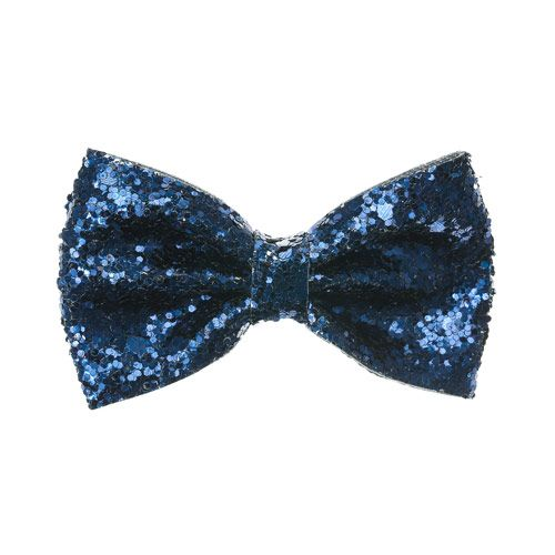 Blue Glitter Bow Hair Clip