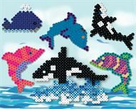Perler beads dolphins and whales.