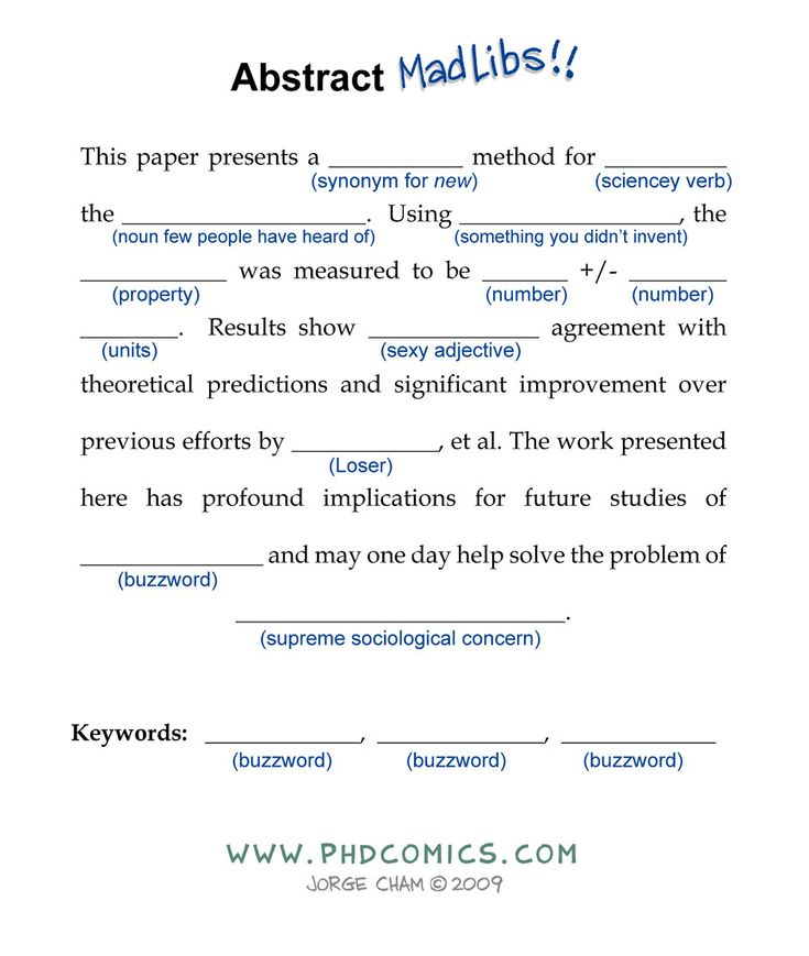 Abstract Madlibs! - from PhD Comics. This is sadly true.