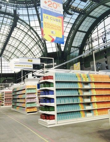 Chanel Supermarket / Chanel Shopping Center / Supermarche. Paris Fashion Week 2014. Grand Palais. Sign for the rice aisle
