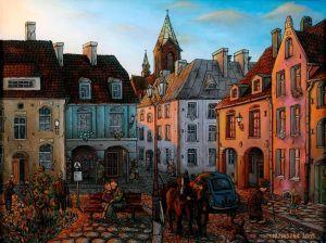 """Sprzedawca węgla"",""Seller of coal"" oil painting on glass"
