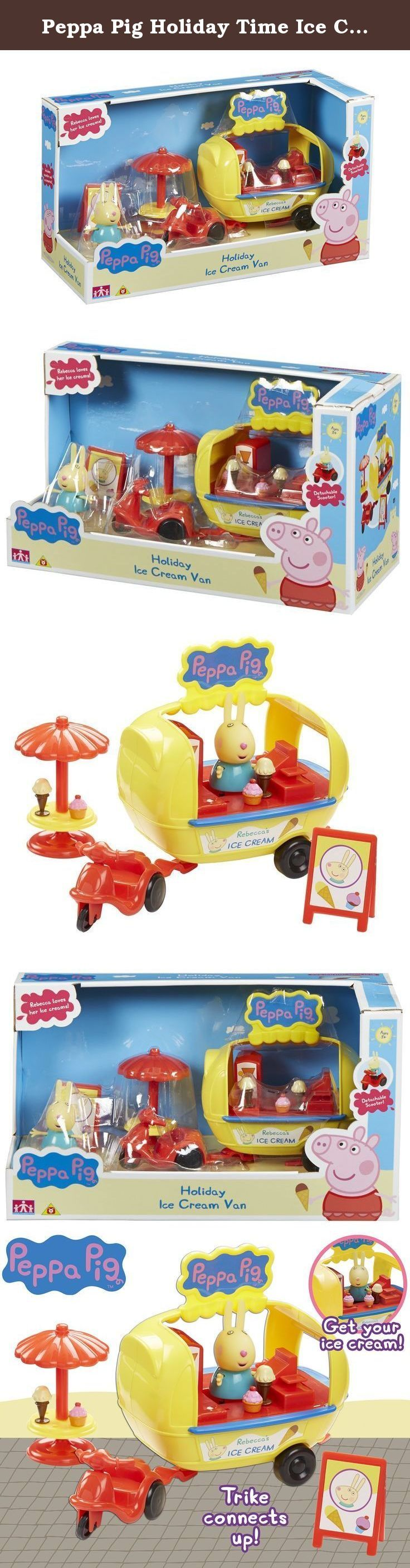Peppa Pig Holiday Time Ice Cream Van With Accessories Playset. Cute Holiday Ice Cream Van with Tricycle, table with sun umbrella and A-board Sign. Help Peppa sell some yummy Ice Creams! Then connect up the tricycle & away Peppa goes!.