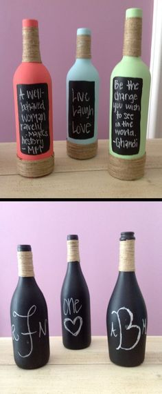 Painted and decorated chalkboard wine bottles