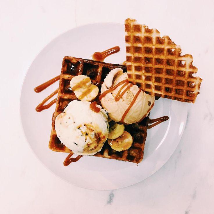 Waffles topped with ice cream at Fat Baby in Kuala Lumpur.  #kl #klfood #kualalumpur #fatbaby #icecream #waffles #dessert