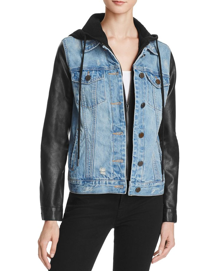 BLANKNYC Faux Leather Sleeve Denim Jacket - 100% Bloomingdale's Exclusive
