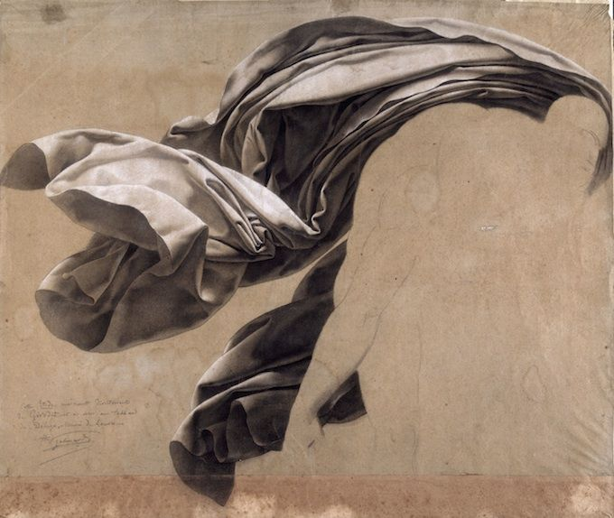 Anne-Louis Girodet de Roussy-Trioson (1767-1824) Study of Draperies, 1806 Lead Pencil and White Chalk - 47.7 x 56.3 cm Nantes, Musée des Beaux-Arts Photo : C. Clos