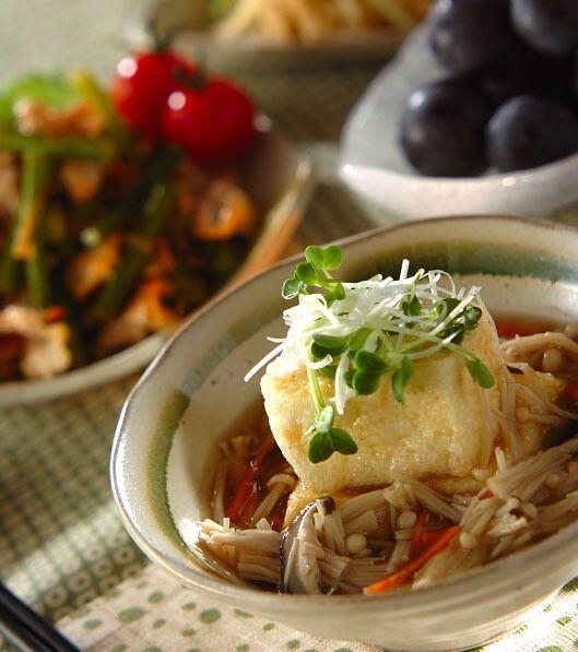 「キノコあんかけ揚げ出し豆腐」の献立・レシピ - 【E・レシピ】料理のプロが作る簡単レシピ/2014.11.10公開の献立です。