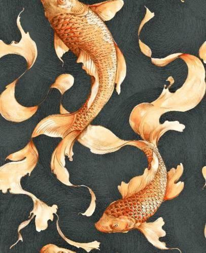 Wallpaper-Designer-Golden-Orange-Koi-Fish-on-Black-Faux