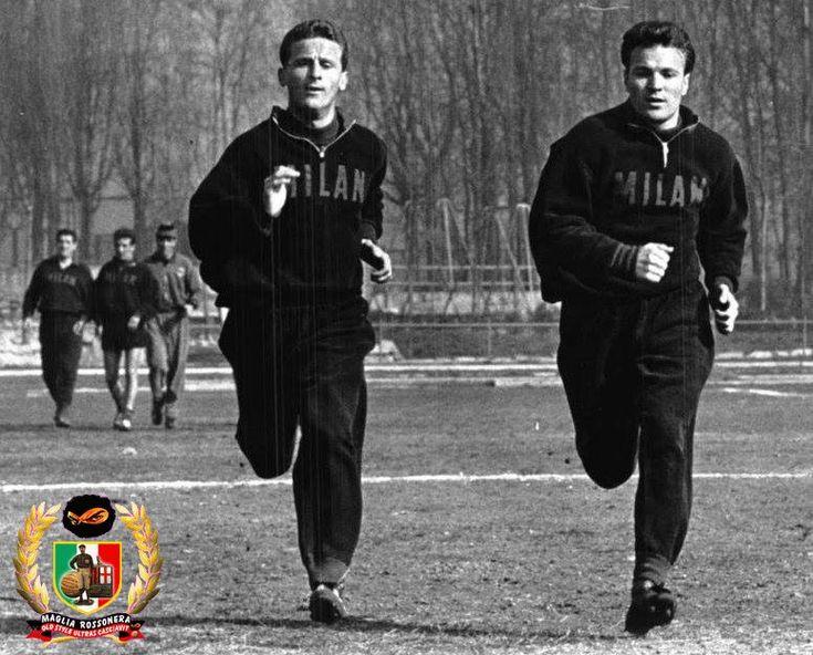 Giovanni Trapattoni (AC Milan, 1959–1971, 274 apps, 3 goals) and José João Altafini (AC Milan, 1958–1965, 205 apps, 120 goals) in a training session, season 1962/1963.