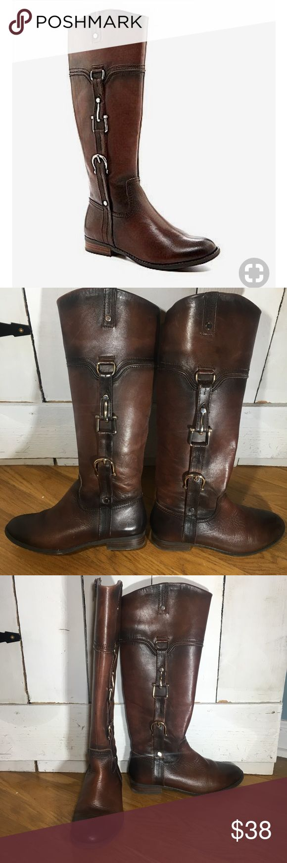 """Michelle D cognac riding boots size 6.5 Michelle D cognac riding boots size 6.5. Excellent condition, 1"""" heel height, gold buckle details, zipper going up inside calf, 16"""" from floor to top of boot (15"""" if you exclude the heel). Color is a brown cognac with weathered oil rubbed effect so toe, heel, and portions of the boot are a bit darker. This is a part of the design. Inside of boot in good condition as well. Michelle D Shoes Combat & Moto Boots"""
