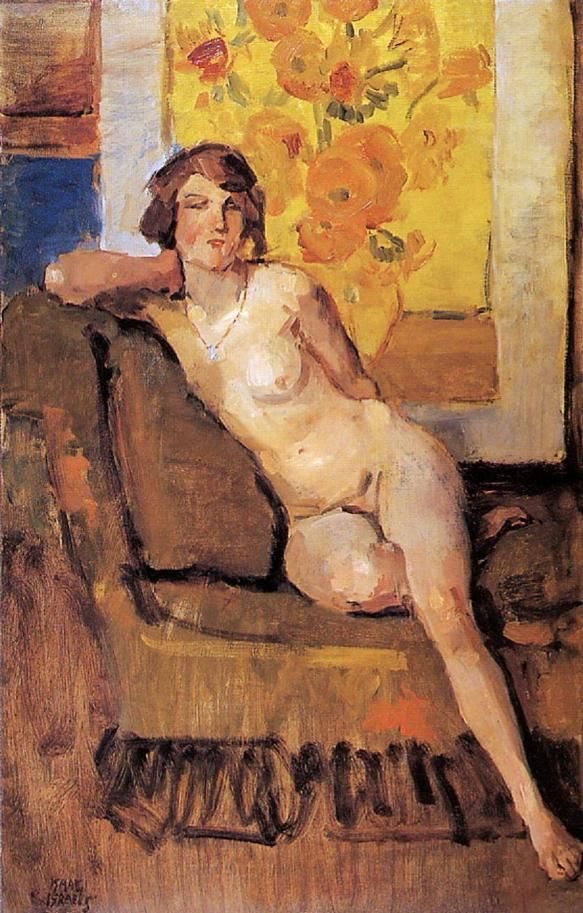 Isaac Israels (1865-1934) - Naakt voor Van Goghs Zonnebloemen, 1915-1922