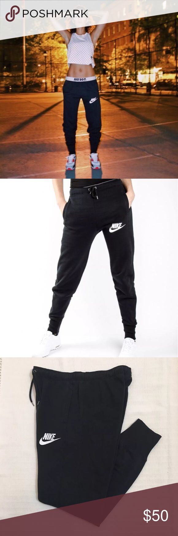 Women's Nike Black Rally Jogger Sweatpants Women's Nike Black Rally Jogger Sweatpants will keep you warm and cozy. Their cotton blend and brushed interior create a soft, comfortable feel, while the profile gives these pants a streamlined look. Materials: 80% cotton, 20% polyester Style/Color: 849008-010  • Women's size Medium  • NEW with tags • No trades •100% authentic Nike Pants Track Pants & Joggers