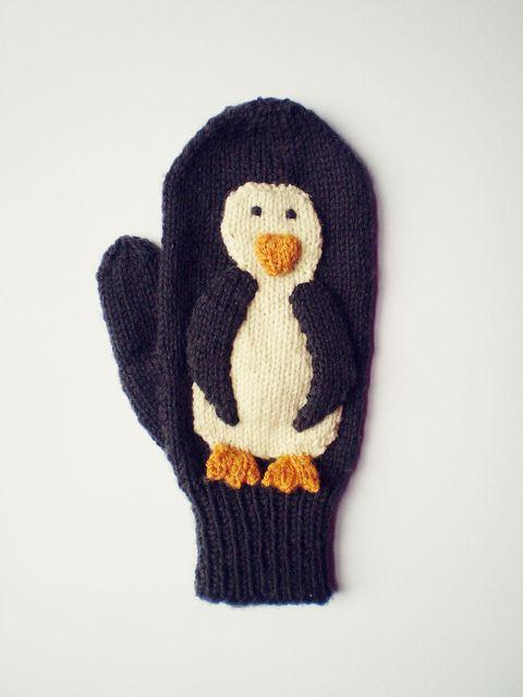 DIY Penguin Mittens - FREE Knitting Pattern / Tutorial