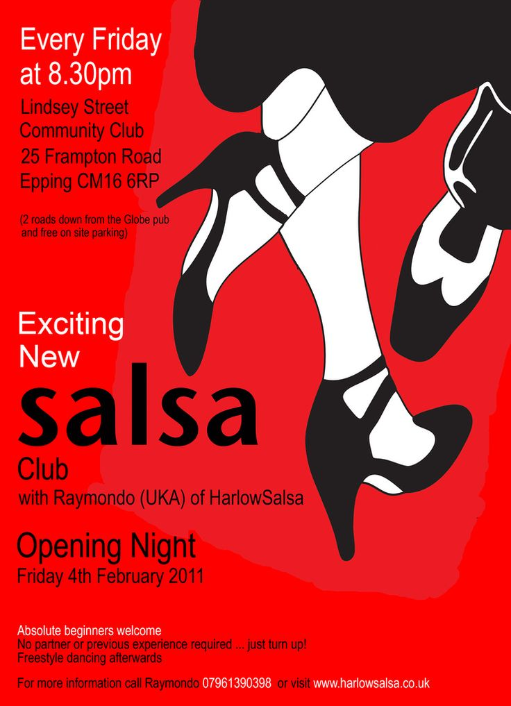 Flyer/poster for local salsa club