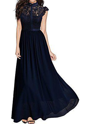 Miusol Damen Elegant Spitzen Abendkleid Brautjungfer Cocktailkleid Chiffon  Faltenrock Langes Kleid Dunkelblau  dresses 71d8fbeca3