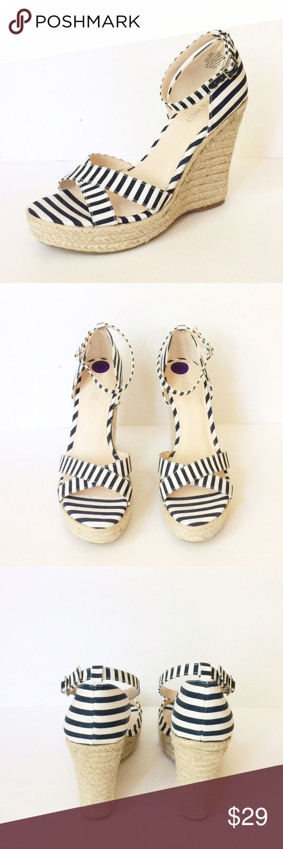 NWOT Nine West Blue and White Espadrilles Chic and stylish! Espadrilles are the perfect carefree footwear to go anywhere. These Nine West wedges have blue and white stripes with a t-strap. The platforms are 4.5 inches tall. Great with jeans, dress, or a skirt! Nine West Shoes Espadrilles