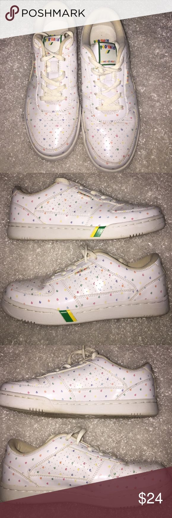 "Rocawear Pro Keds Primary Color Rainbow Sneakers White patent with signature Rocawear ""RW"" initials all over shoes in colors of red orange blue green and yellow. Very good condition. Size 7 Rocawear Shoes Sneakers"